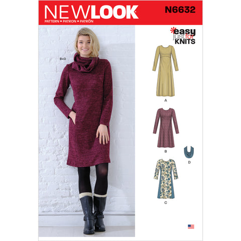New Look Sewing Pattern N6632 - Misses' Knit Empire Dresses