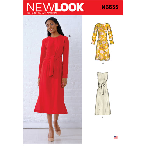 New Look Sewing Pattern N6633 - Misses' Dresses with Optional Drape