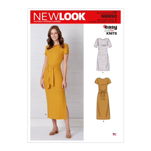 New Look Sewing Pattern N6650 - Misses' Knit Dress With Sleeve & Length Variations