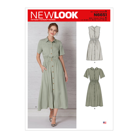 New Look Sewing Pattern N6651 - Misses' Button Front Dress With Elasticated Waist
