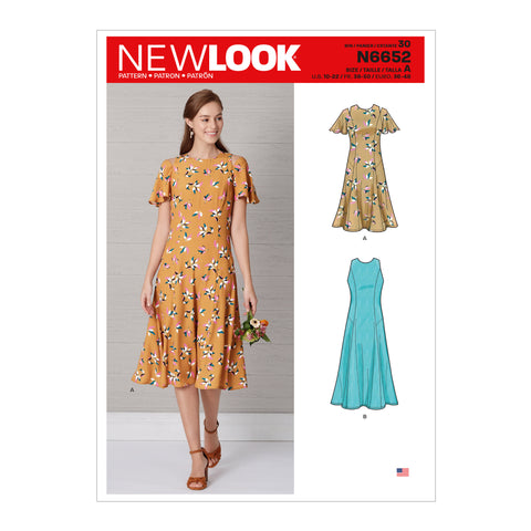 New Look Sewing Pattern N6652 - Misses' Fit & Flared Dress With Length & Sleeve Variations