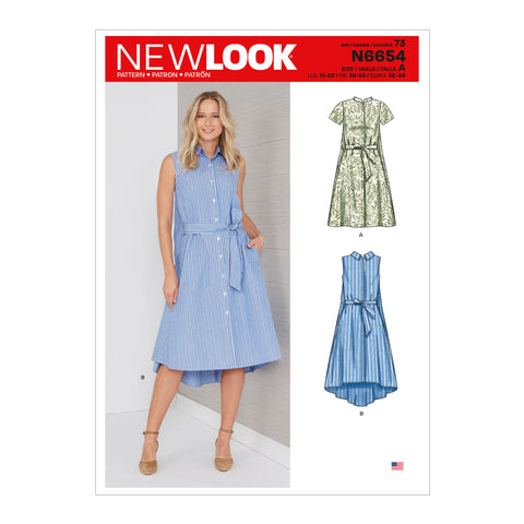 New Look Sewing Pattern N6654 - Misses' Shirt Dress With Flared Back