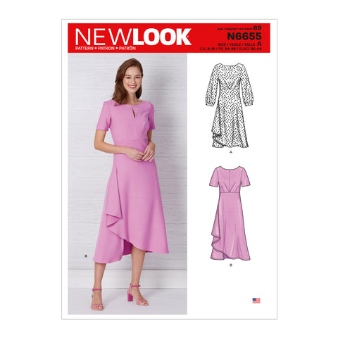 New Look Sewing Pattern N6655 - Misses' Dress In Two Lengths With Sleeve Variations