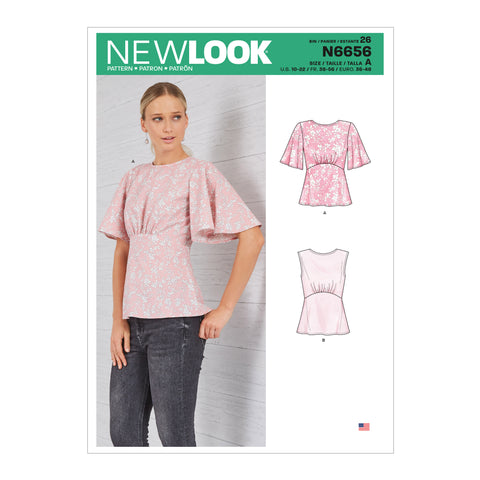 New Look Sewing Pattern N6656 - Misses' Top With Optional Back Opening & Flared Sleeves