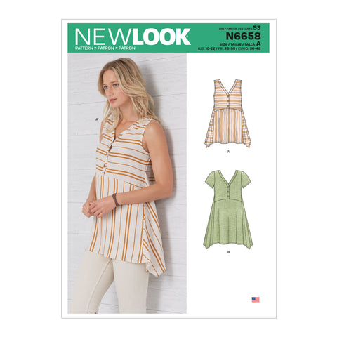 New Look Sewing Pattern N6658 - Misses' Handkerchief Hemmed Top