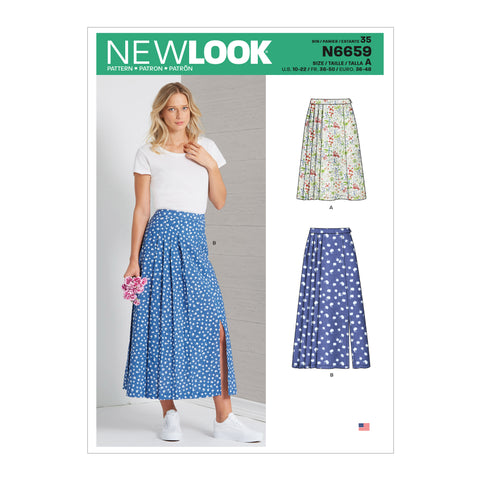 New Look Sewing Pattern N6659 - Misses' Pleated Skirt With Or Without Front Slit Opening