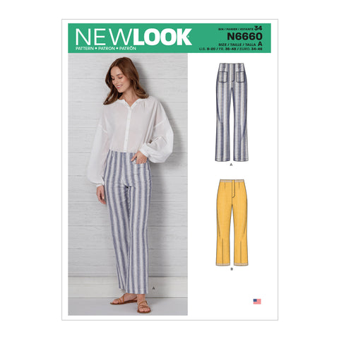 New Look Sewing Pattern N6660 - Misses' High Waisted Flared Pants In Two Lengths