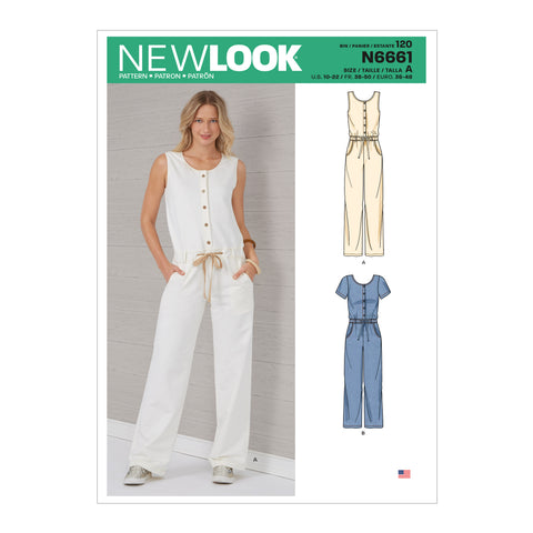 New Look Sewing Pattern N6661 - Misses' Relaxed Fit Jumpsuit With Drawstring Waist