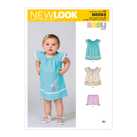 New Look Sewing Pattern N6663 -  Infants' Dress, Top With Appliques & Trims & Pants With Bows At Hem