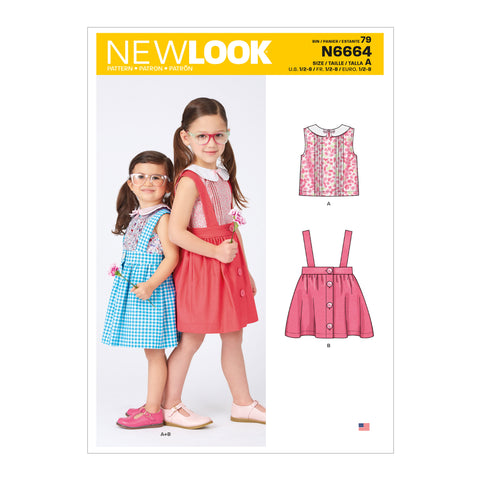 New Look Sewing Pattern N6664 - Toddlers' & Children's Skirts With Shoulder Straps & Peter Pan Blouse