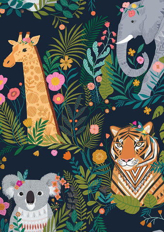 Dashwood Our Planet - Animals Navy - 100% Cotton Fabric