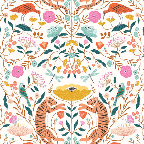 Dashwood Our Planet - Tiger Floral White - 100% Cotton Fabric