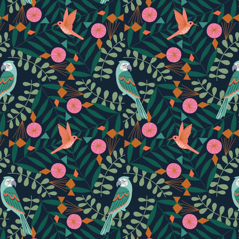 Dashwood Our Planet - Birds Navy - 100% Cotton Fabric