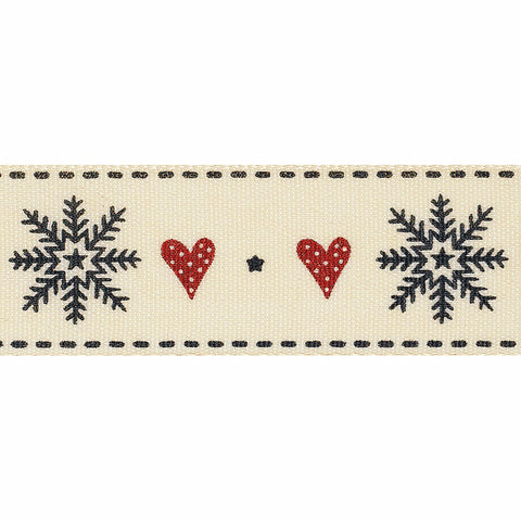 15mm Snowflake Stitch Christmas Ribbon