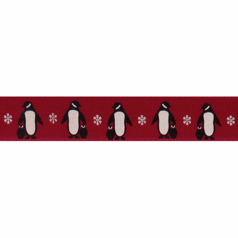 15mm Red Penguin Christmas Ribbon