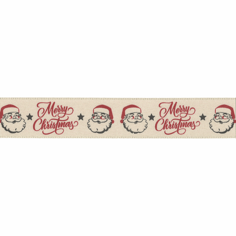 25mm Jolly Santa Christmas Ribbon
