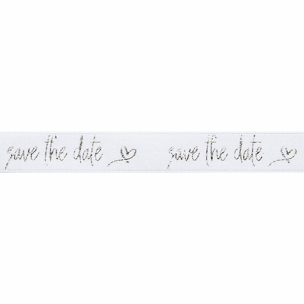15mm Save the Date White/Silver Ribbon