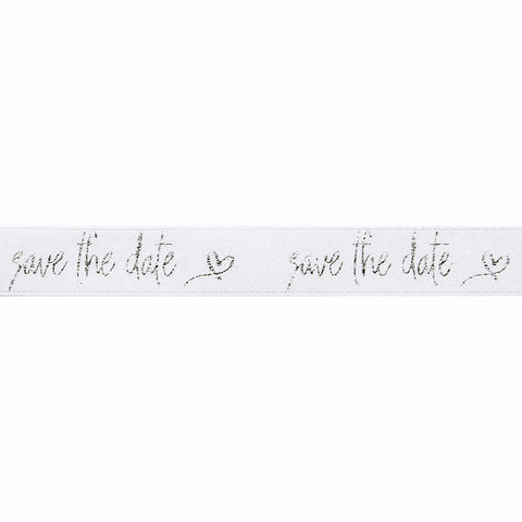 Save the Date White/Silver Ribbon