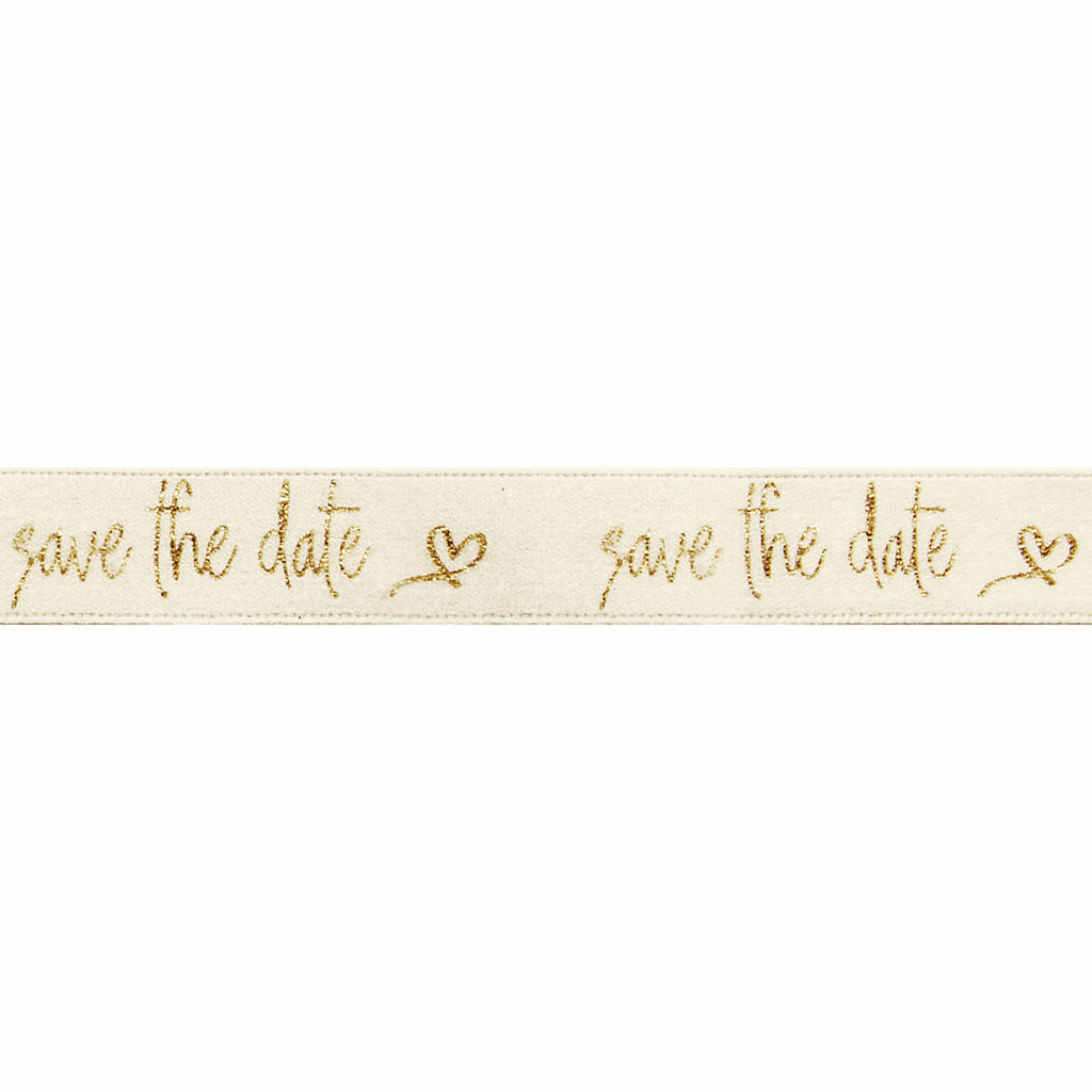 15mm Save the Date Cream/Gold Ribbon