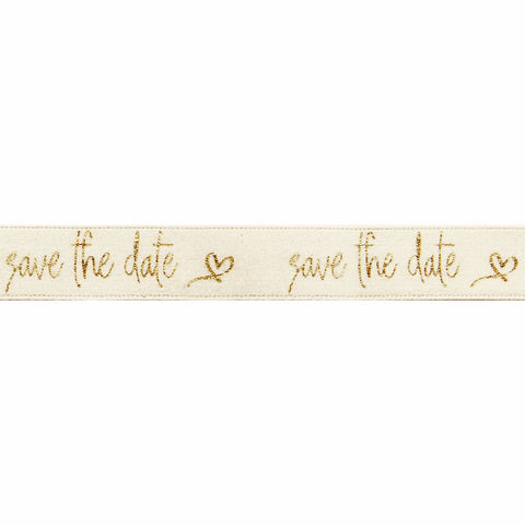 Save the Date Cream/Gold Ribbon