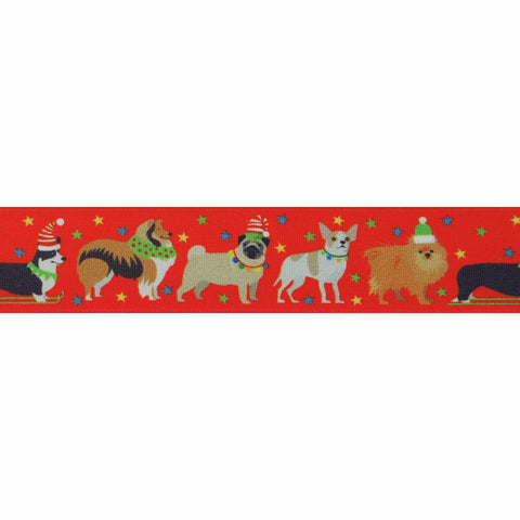 25mm Festive Pets Christmas Ribbon
