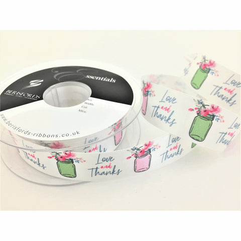 Love and Thanks Floral Satin Ribbon