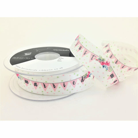 Just Married Bunting Floral Satin Ribbon