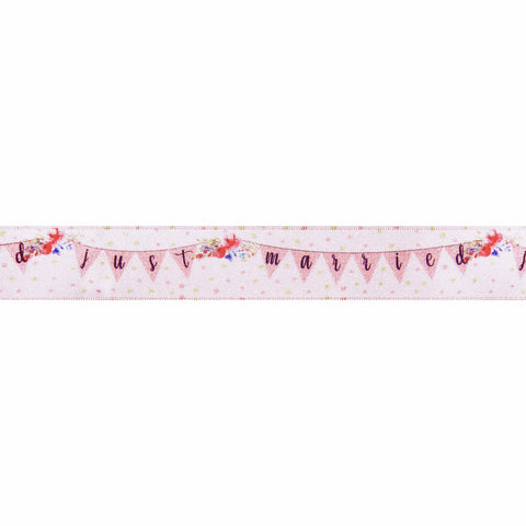 25mm Just Married Bunting Floral Satin Ribbon