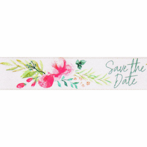 Save the Date Floral Satin Ribbon