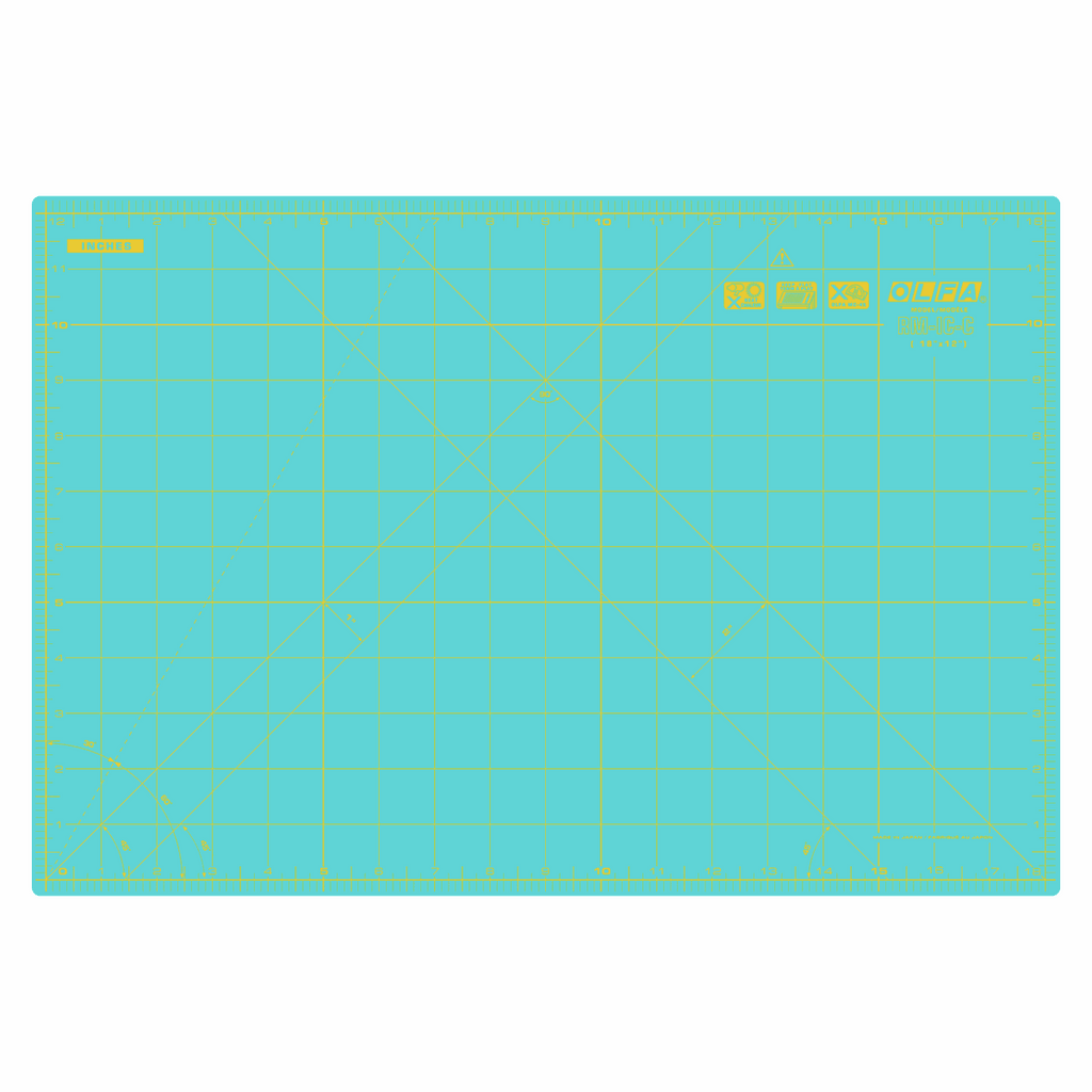 Olfa Coloured Cutting Mat Metric & Imperial 42.5 x 27.5cm - Aqua
