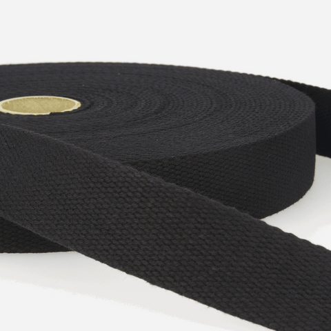 25mm Cotton Webbing - Black