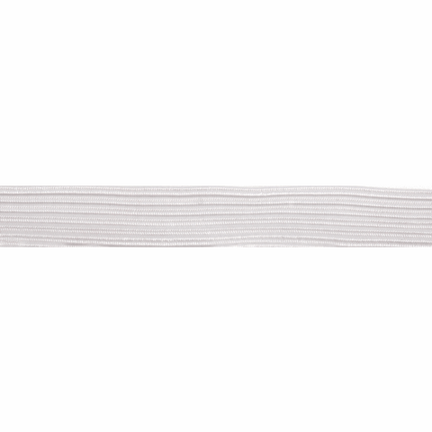 7mm White Braided Soft Elastic