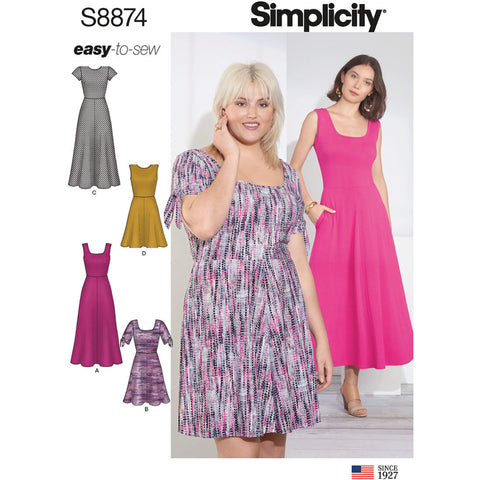 Simplicity Pattern S8874 - Misses'/Women's Knit Dress