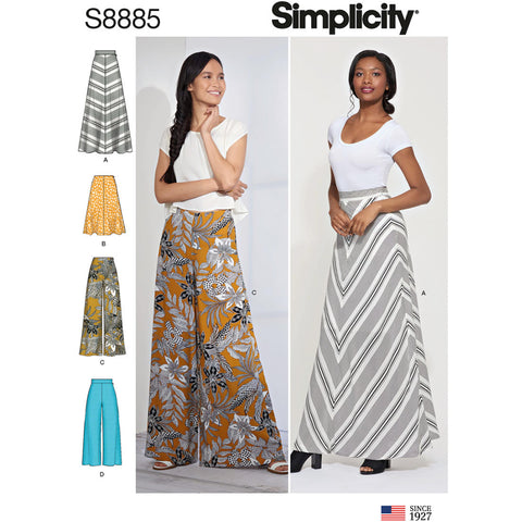 Simplicity Pattern S8885 - Misses' Skirt and Pants