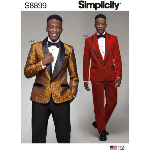 Simplicity Pattern S8899 - Men's Tuxedo Jackets, Pants and Bow Tie
