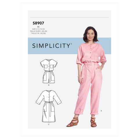 Simplicity Sewing Pattern S8907 - Misses' Jumpsuit, Romper, Dresses & Belt
