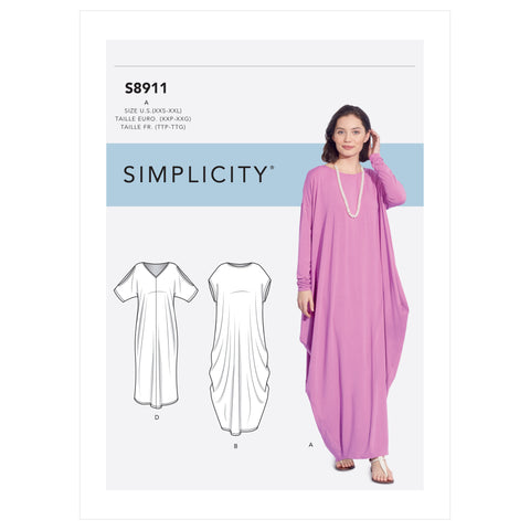 Simplicity Sewing Pattern S8911 - Misses' Knit Caftans