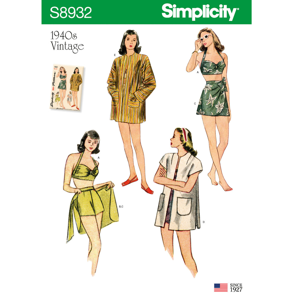 Simplicity Sewing Pattern S8932 - Misses' Vintage Bikini Top, Shorts, Wrap, Skirt and Coat