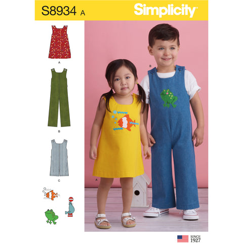 Simplicity Sewing Pattern S8934 - Toddler's Jumper, Jumpsuit, and Romper