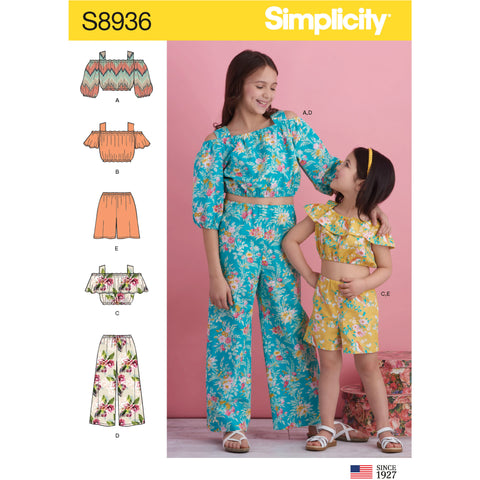 Simplicity Pattern S8936 - Children's and Girl's Tops, Pants and Shorts
