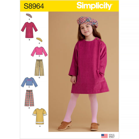 Simplicity Sewing Pattern S8964 - Children's Dresses, Tops, Pants, and Hat