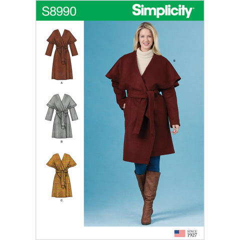 Simplicity Sewing Pattern S8990 - Misses' Wrap Coats