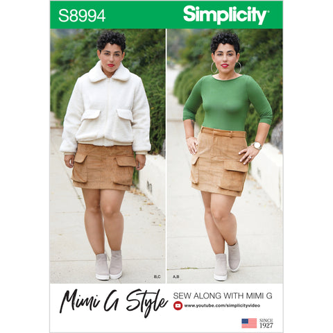 Simplicity Sewing Pattern S8994 - Misses' Mimi G Style Jacket, Skirt, and Knit Top