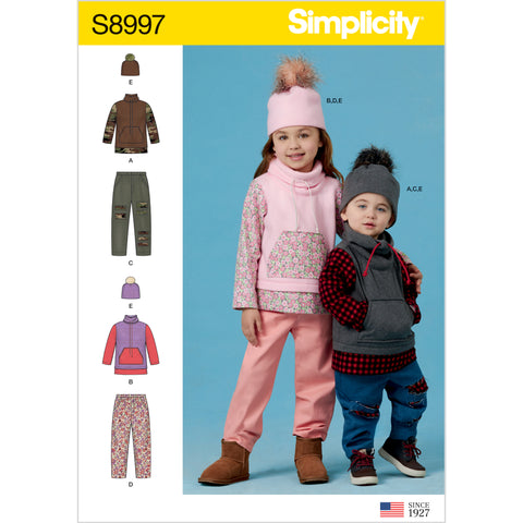 Simplicity Sewing Pattern S8997 - Toddlers' and Children's Pants, Knit Top and Hat