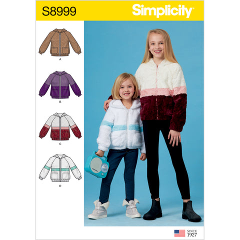 Simplicity Sewing Pattern S8999 - Children's and Girls' Knit Hooded Jacket