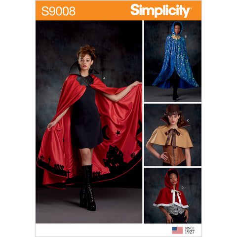 Simplicity Sewing Pattern S9008 - Misses' Cape with Tie Costumes