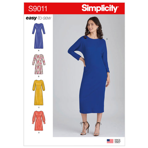 Simplicity Sewing Pattern S9011 - Misses' Knit Pullover Dresses