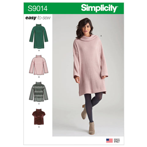 Simplicity Sewing Pattern S9014 - Misses' Knit Tops with Variations