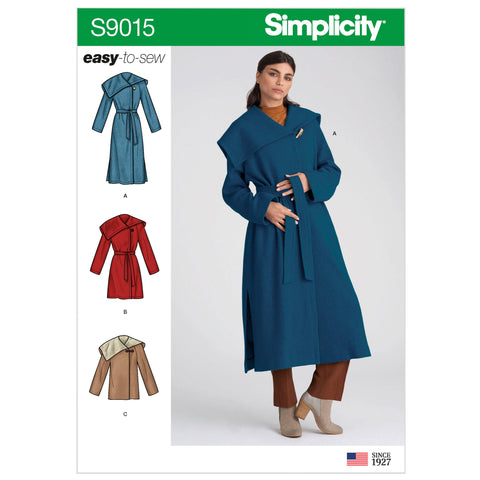 Simplicity Sewing Pattern S9015 - Misses' & Misses' Petite Coat with Belt