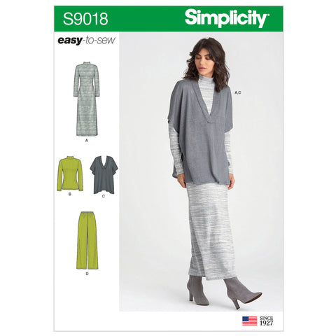 Simplicity Sewing Pattern S9018 - Misses' Pants, Knit Vest, Dress or Top